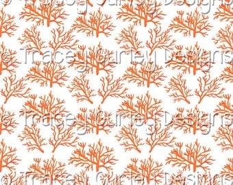 Orange Coral Pattern Repeat on White - Original Art download, coral printable paper, coral digital paper, digital scrapbooking, invitation