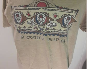1994 Grateful Dead T-Shirt - Tan Cotton Tee - Good Shape - Made in USA - Fruit of the Loom - Collectible Music Jerry Garcia  1990s T-Shirts