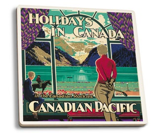 Canadian Pacific - Holiday (Shoesmith) Vintage Ad (Set of 4 Ceramic Coasters)