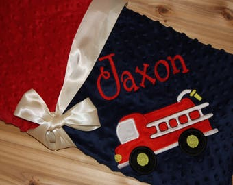 Fire Truck - Personalized Minky Baby Blanket - Navy / Red Minky - Embroidered Fire Truck