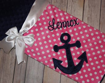 Anchor - Personalized Minky Baby Blanket -Pink Polka Dots Minky / Navy  Minky - Embroidered Anchor