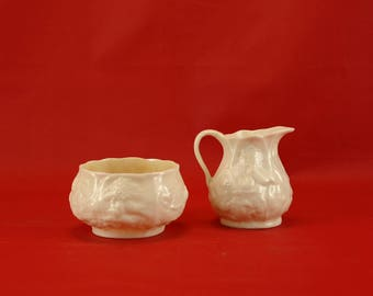 Beleek Lotus Pattern Cream and Sugar 3rd Black Mark 1926-46