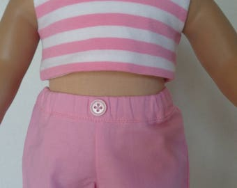 18 Inch Doll Clothes/18 Inch Doll Dress/Great Summer Outfit 3 Piece Pink, White and Brown/Shorts and Two Matching Tank Tops