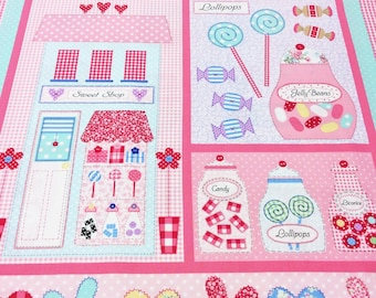 Benartex Sweet Shoppe Pink 3640 Panel 24 x 44 inches (approx 60 cm x 112 cm) high Patchwork Quilting Dressmaking Fabric