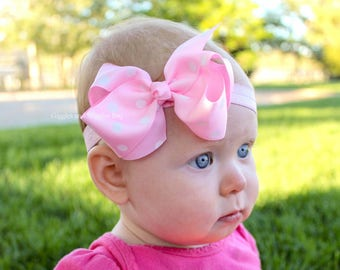 Baby headbands, pink and white bow, infant headband, baby bows, pink headband, pink bow headband, 1st birthday, infant girl
