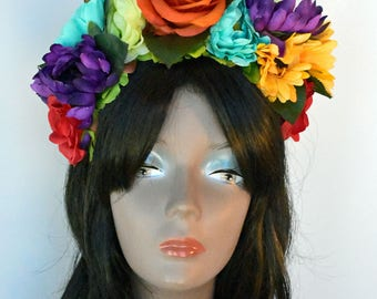 Hair Accessories, Adult, Women's, Colorful, Floral Headbands, Multicolored, Headbands, Day Of The Dead Headpiece, Floral Crowns, Accessories