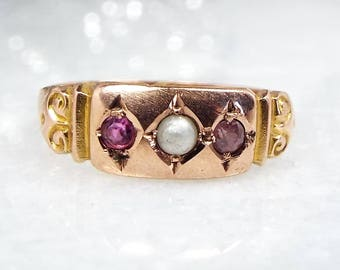 Antique / 1914 Edwardian 9ct Gold Purple Amethyst Pearl Gypsy Band Ring Size K 1/2