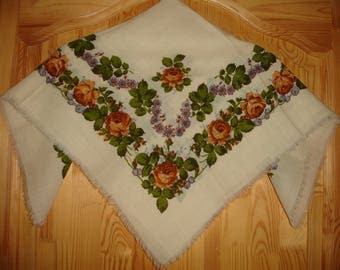 Russian Wool Scarf Vintage Shawl Babushka Shawl white  Vintage Boho Scarf cream white Shawl Floral Pattern