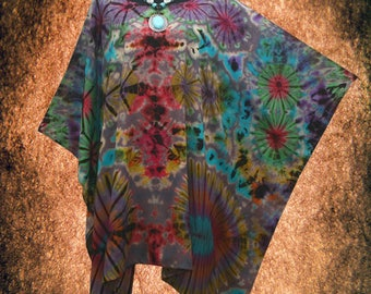 Fireworks Psychedelic Hand dyed Artwork Blouse Cover Up Poncho Top