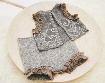 Newborn Photo Props, Newborn Lace Outfit, Newborn Bloomers, Newborn Props, Baby Girl Outfit, Photo Outfit, Gray Lace Top & Panties, code 103
