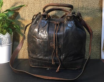 Vintage 1990's Painted Dark Brown Leather Bucket Bag Shoulder Strap - El Campero