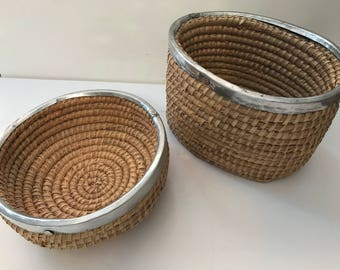 Vintage handmade Mexican rattan woven baskets with hammered metal accents