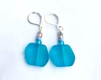 Tumbled Sea Glass Earrings, Aqua Blue Earrings, Modern Earrings, Beach Dangle Earrings, Mothers Day Gift, Gift for Her