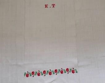 Embroidered Patterned Tea towel Linen with 'KT' Monogram Vintage Fabric Handmade Linen