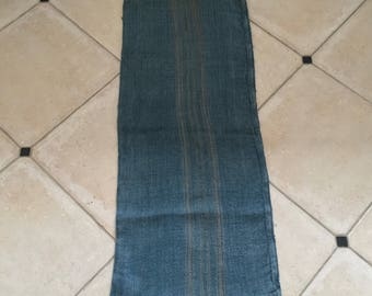 DNS46 Grey Blue Dyed Vintage Linen Grain Sack with Taupe Stripe Upholstery Fabric Flour Sack for Sewing Projects Bath Mat Pillow Cover
