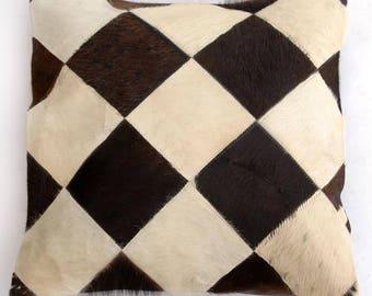 Natural Cowhide Luxurious Patchwork Hairon Cushion/pillow Cover (15''x 15'')a141