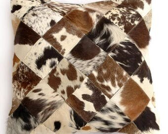 Natural Cowhide Luxurious Patchwork Hairon Cushion/pillow Cover (15''x 15'')a152