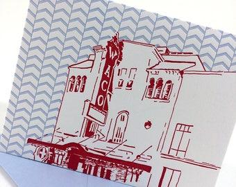 Waco, Texas Letterpress Card | Waco Hippodrome | red & blue single blank card with envelope