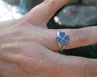 Lapis and Sterling Silver Shamrock  Ring Size 6