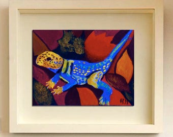 ACEO art card Original ACEO Lizard painting Original Art Lizards Art collecting Acrylic ACEO Limited Edition One of kind Miniature artwork