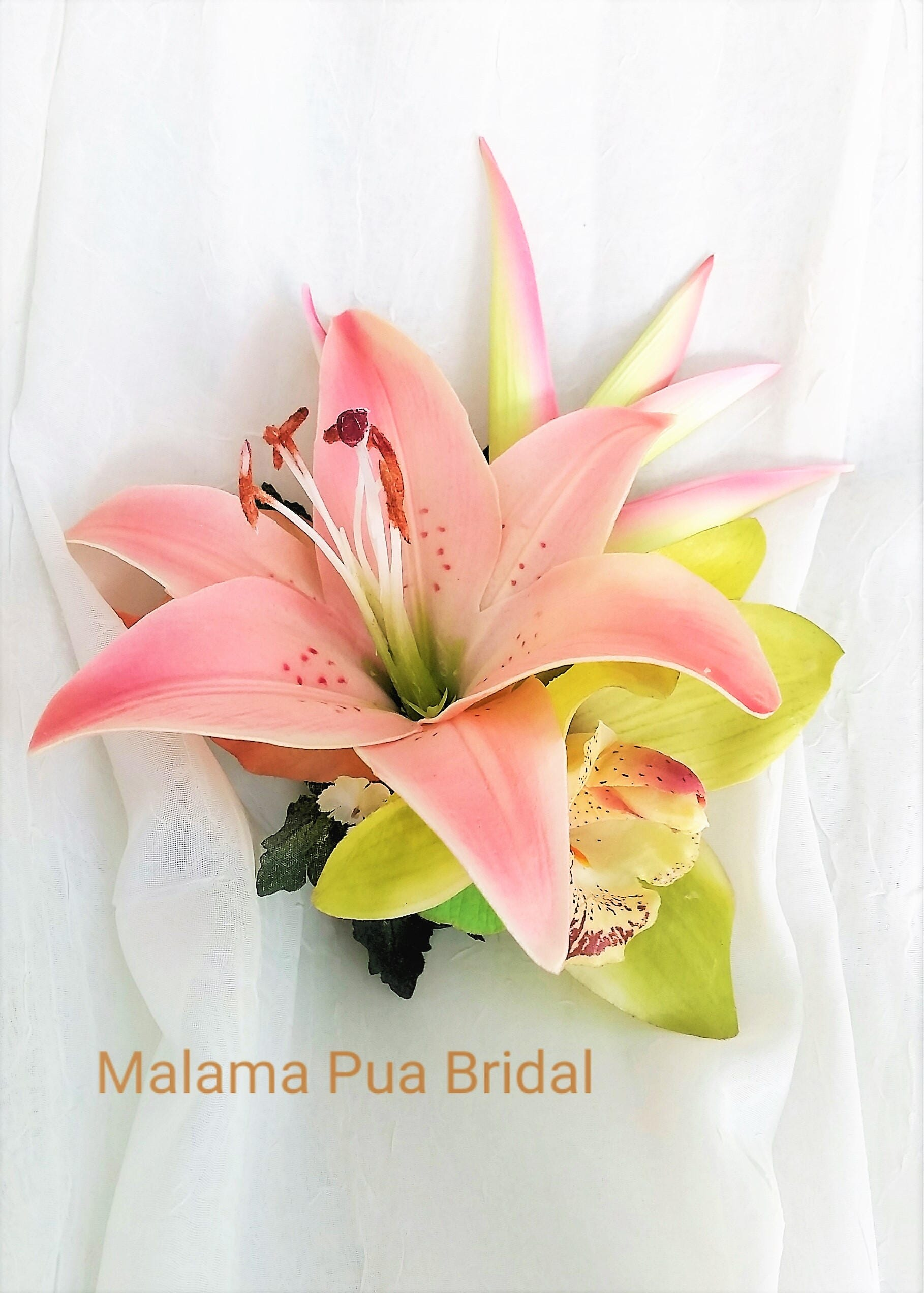 Wedding hair accessory coral peach pink lily custom headpiece wedding hair accessory coral peach pink lily custom headpiece silk flower clip izmirmasajfo Image collections