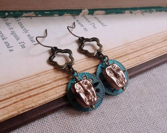 Czech glass earrings Vintage inspired dangle earrings Patina filigree charms earrings