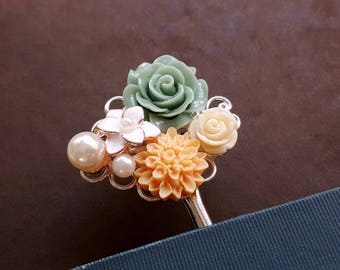 Antique inspired silver bookmark Flower pearl assemblage Jewelry bookmark Floral bookmark