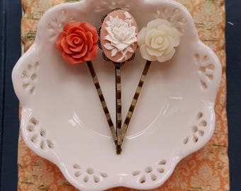 Set of 3 cabochon Cameo and flower cabochon bobby hair pin Tangerine and ivory flower hair pin set