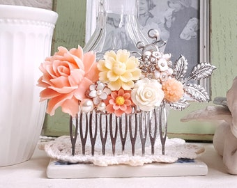 Bridal silver hair comb Soft peach and white flower comb Rustic hair accessory