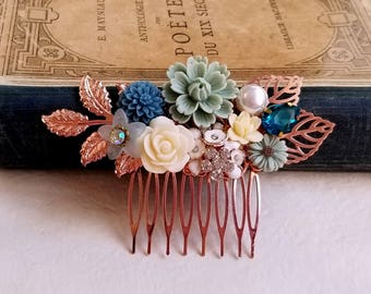 Shabby chic flower accessory Woodland Rose gold comb Dusty Blue flower comb