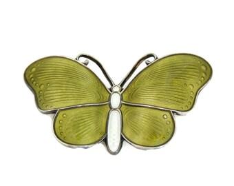 Silver Guilloche Enamel Butterfly Brooch Ivan Holth Norway 1950s
