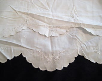 White embroidered pillowcases, pair of standard size pillowcases, scalloped hem, decorative, shabby cottage chic decor