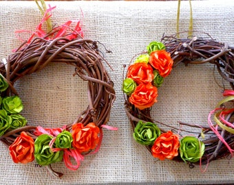 "Spring Wreaths, Small Twig Wreaths (6""), Paper Flower Wreaths, Front Door Wreaths, Indoor Wreaths, Window Wreaths"