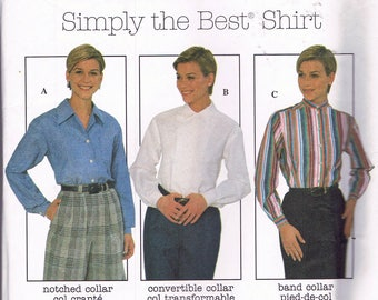Size 8-12 Misses' Blouse Sewing Pattern - Long Sleeve Shirt Sewing Pattern - Fitted Shirt Pattern -  Band Collar Shirt  - Simplicity 8061