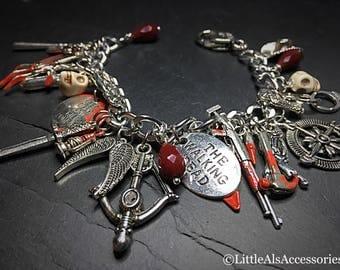 Silver Plated Zombie Charm Bracelet, Undead Bracelet, Zombie Jewelry, Zombie Apocalypse, Horror Jewelry, Gothic Gifts, Gothic Charm Bracelet