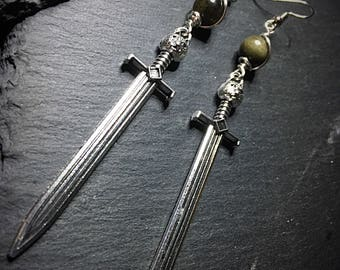 Sword Earrings, Game Of Thrones, Jon Snow's Sword, Silver Sword Earrings with Obsidian, Long Sword Earrings, Gothic Earrings, Gothic Jewelry