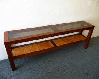 Mid Century Console Table in Walnut Smoke Glass and Cane