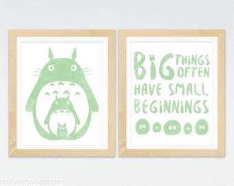 Totoro Nursery Art Prints, My Neighbor Totoro Wall Art With Totoro, Soot Sprites and Big Things Often Have Small Beginnings, 2 - 8x10s