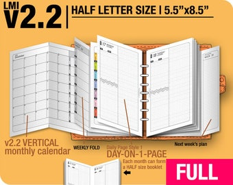FULL [HALF size v2.2 w ds1 do1p] January to December 2018 - Filofax Inserts Refills Printable Binder Planner Midori.