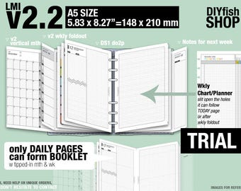 Trial [A5 v2.2 w DS1 do2p] February to April 2018  - Filofax Inserts Refills Printable Binder Planner Midori.