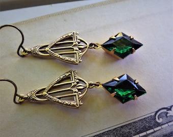 Art Deco ~ Emerald Earrings ~ Vintage Glass ~ Amethyst Purple ~ Rare Stones ~ Vintage Style - by LadyofTheLakeJewels
