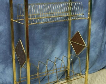 Vintage Mid Century Brass Vinyl Record Rack, LPs and 45s, Rolling with Wood Accents