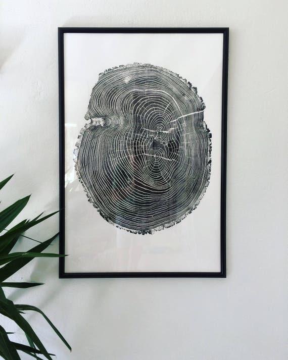 Tree Ring Art, Ash Tree, Tree Stamp, Tree Rings, Real Tree Art, Original Art, Hand Pressed, Woodblock print, Original Print, Abstract decor