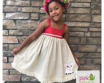 Moana dress perfect for birthdays, parks, handmade girls outfit