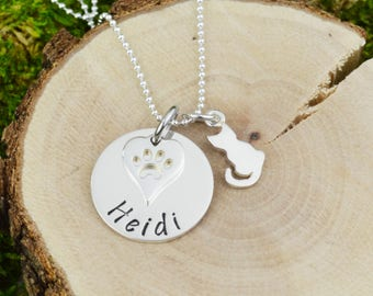 Personalized Pet Necklace with Cat Charm in Sterling Silver