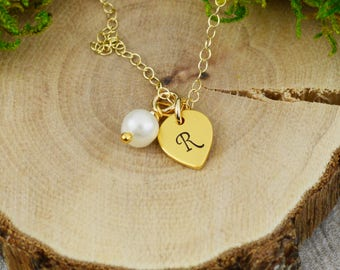Customizable Initials and Freshwater Pearl Necklace in Gold - Custom Personalized Hand Stamped Jewelry - New Mom or Grandmother Necklace