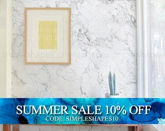 Marble White, Marble Extra Large Wall Art, Peel and Stick Wall Poster