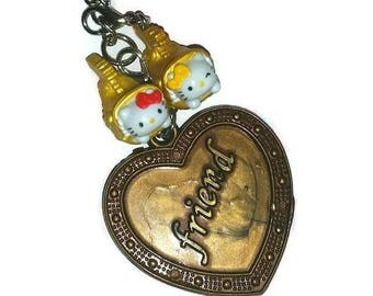 Kawaii HELLO KITTY Keychain BFF Best Friend Heart Twins Sisters Key Ring Bag Purse Charm Jewelry Love Cats Key Chain Bestie Valentines Gift