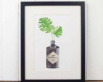 Hendrick's Gin Botanical Watercolour Print A4. Gin Lovers. Modern Gin Print. Lovely Modern Home Gift. Housewarming Gift. Wedding Gift. GIN