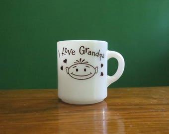 I Love Grandpa Vintage Milk Glass Mug (A retro little heavyweight mug.)